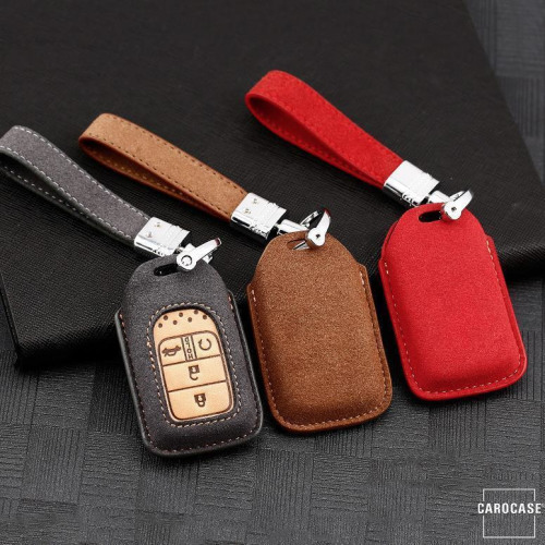 Premium Leather key fob cover case fit for Honda H12 remote key grey