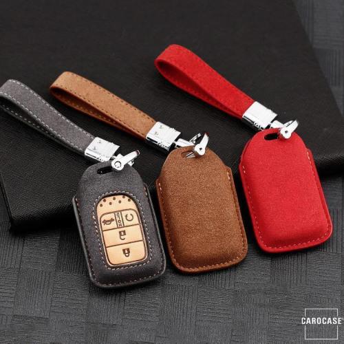 Premium Schlüssel Cover + Lederband für Honda Schlüssel grau LEK59-H12-17