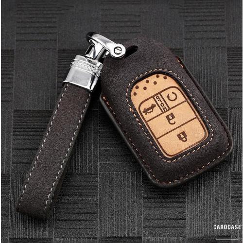 Cover Guscio / Copri-chiave Pelle premium compatibile con Honda H13 grigio