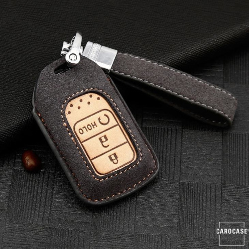 Premium Schlüssel Cover + Lederband für Honda Schlüssel grau LEK59-H14-17
