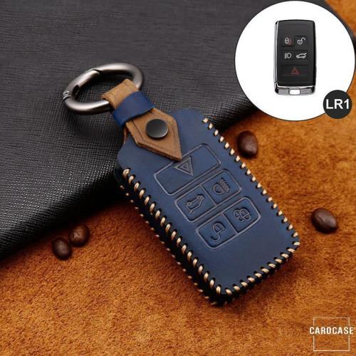 Premium Leather key fob cover case fit for Land Rover, Jaguar LR1 remote key blue