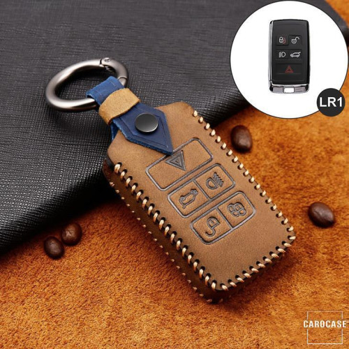 Premium Leder Cover passend für Land Rover, Jaguar Schlüssel + Anhänger braun LEK60-LR1-2