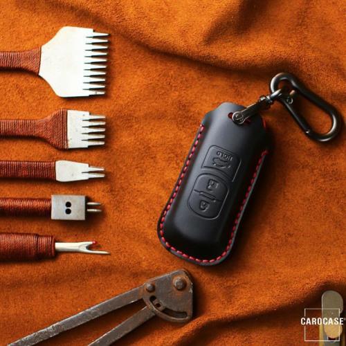 Coque de protection en cuir pour voiture Mazda clé télécommande MZ1, MZ2 noir