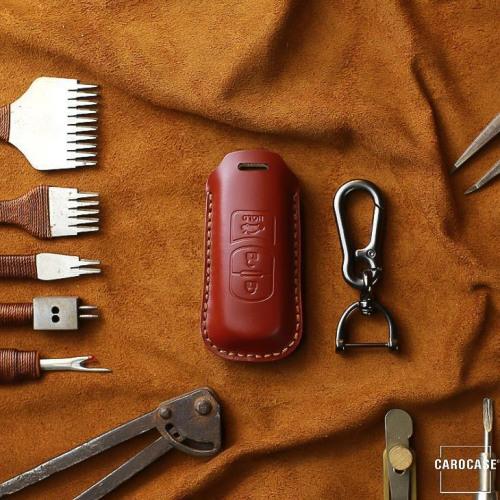 Coque de protection en cuir pour voiture Mazda clé télécommande MZ1, MZ2 rouge