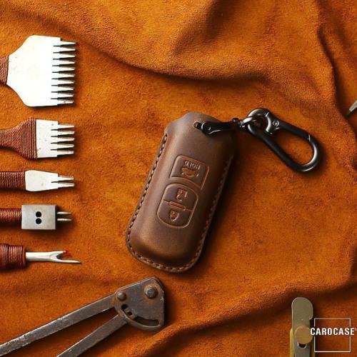 Coque de protection en cuir pour voiture Mazda clé télécommande MZ1, MZ2 brun