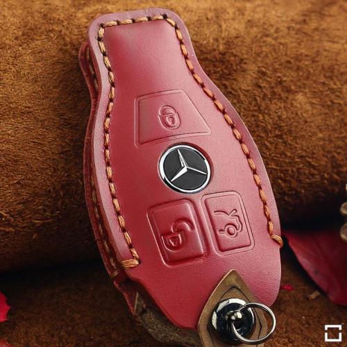 Coque de protection en cuir pour voiture Mercedes-Benz clé télécommande M8 rouge