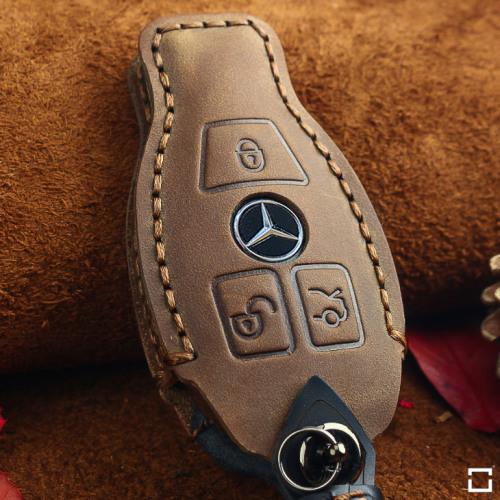 Coque de protection en cuir pour voiture Mercedes-Benz clé télécommande M8 brun