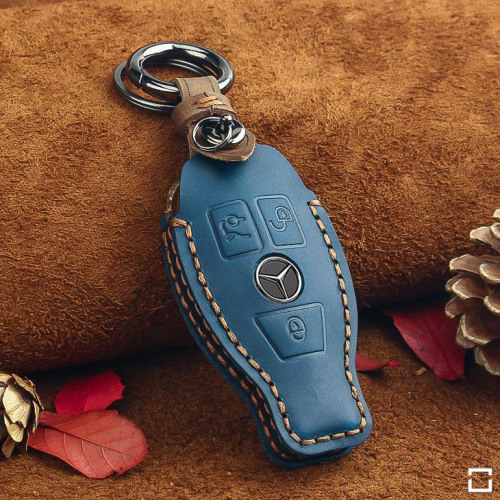 Leather key fob cover case fit for Mercedes-Benz M8 remote key blue