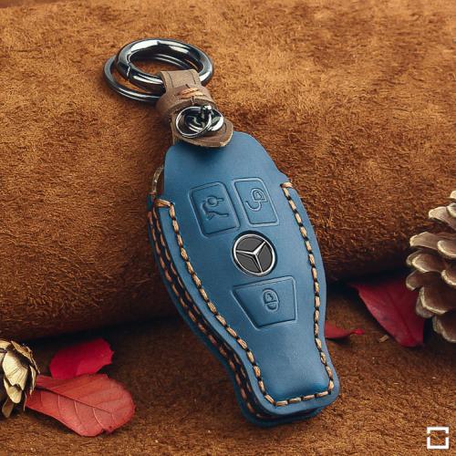 Coque de protection en cuir pour voiture Mercedes-Benz clé télécommande M8 bleu
