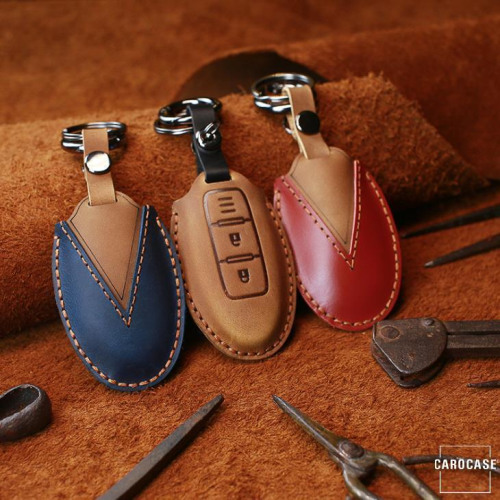 PREMIO Leder Schlüssel Cover passend für Nissan Schlüssel  LEK33-N5