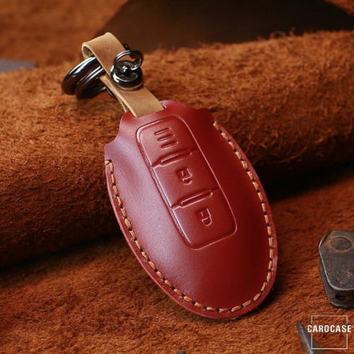 Coque de protection en cuir pour voiture Nissan clé télécommande N5 rouge