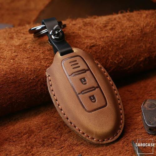 PREMIO Leder Schlüssel Cover passend für Nissan Schlüssel braun LEK33-N5
