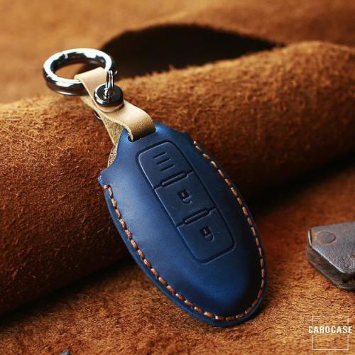 Coque de protection en cuir pour voiture Nissan clé télécommande N5 bleu