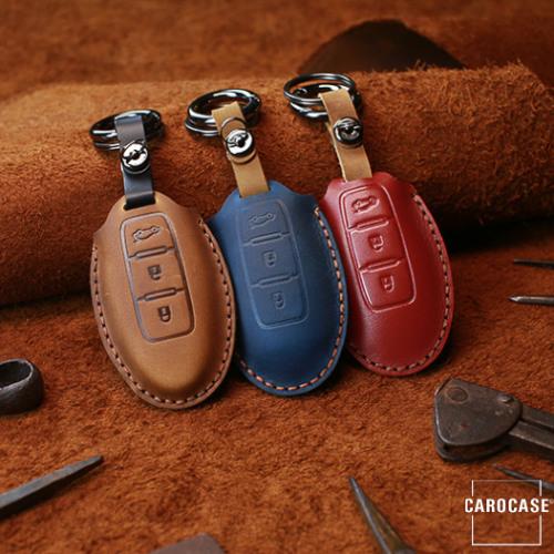 PREMIO Leder Schlüssel Cover passend für Nissan Schlüssel  LEK33-N6