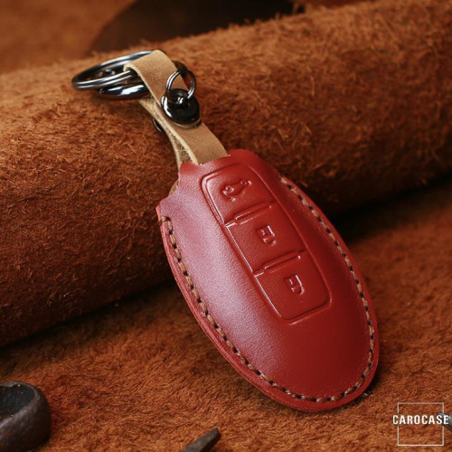 Leather key fob cover case fit for Nissan N6 remote key red