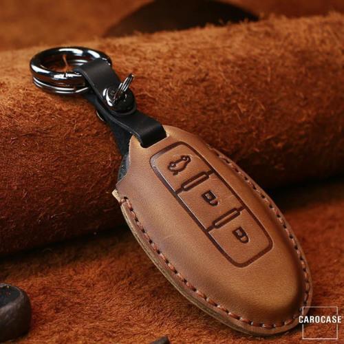 Coque de protection en cuir pour voiture Nissan clé télécommande N6 brun
