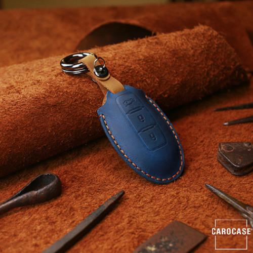 Coque de protection en cuir pour voiture Nissan clé télécommande N6 bleu