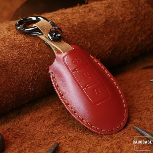 PREMIO Leder Schlüssel Cover passend für Nissan Schlüssel rot LEK33-N7