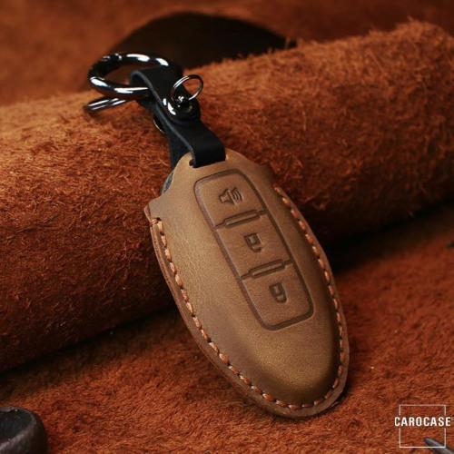 PREMIO Leder Schlüssel Cover passend für Nissan Schlüssel braun LEK33-N7