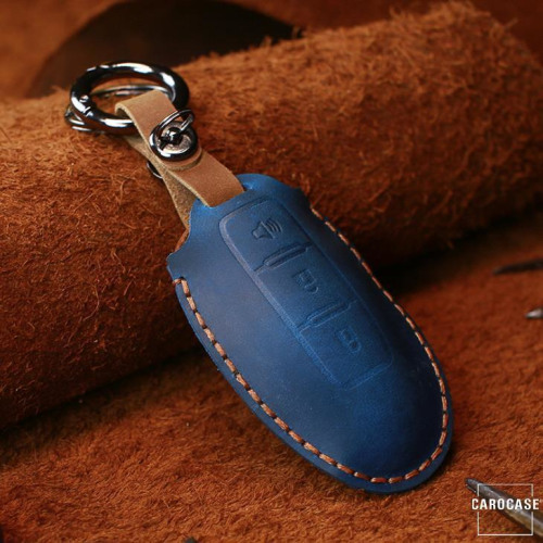 Leather key fob cover case fit for Nissan N7 remote key blue