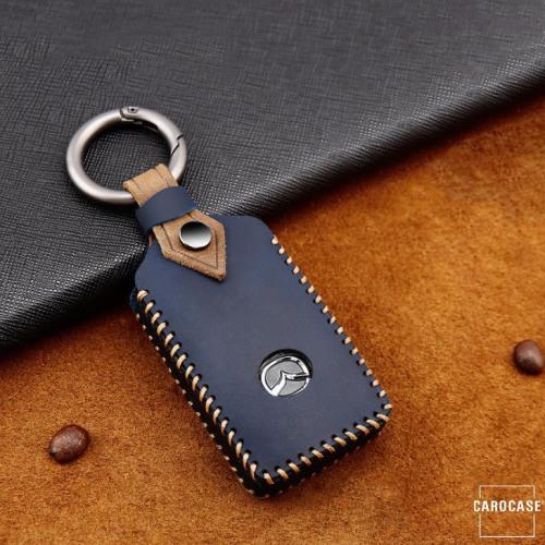 Coque de protection en cuir de première qualité pour voiture Mazda clé télécommande MZ5 bleu