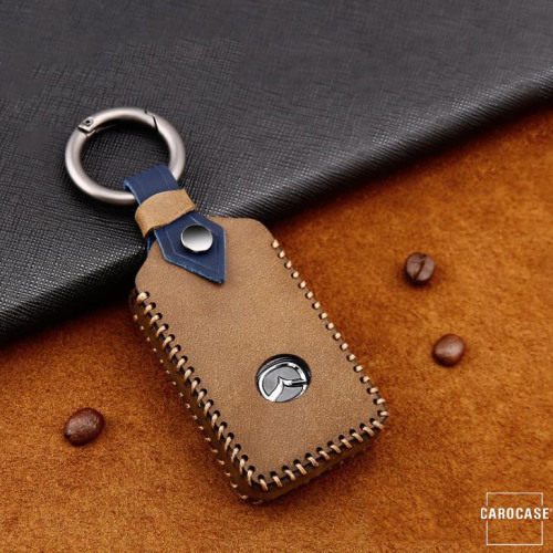Premium Leder Cover passend für Mazda Schlüssel + Anhänger braun LEK60-MZ5-2