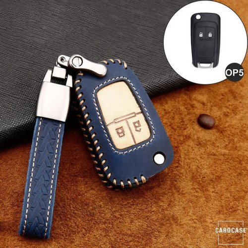 Premium Leder Cover passend für Opel Autoschlüssel inkl. Lederband und Karabiner blau LEK31-OP5-4