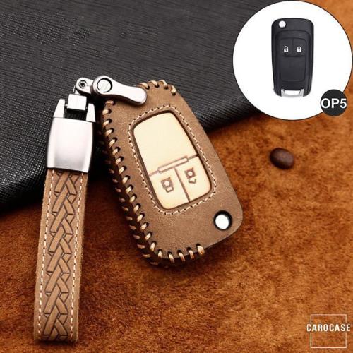 Cuero de primera calidad funda para llave de Opel OP5 marrón