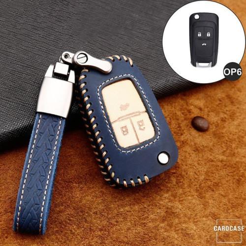 Coque de protection en cuir de première qualité pour voiture Opel clé télécommande OP6 bleu