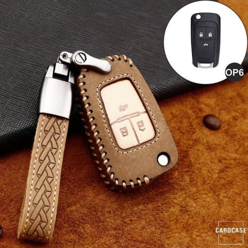 Premium Leder Cover passend für Opel Autoschlüssel inkl. Lederband und Karabiner braun LEK31-OP6-2