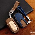 Premium Leder Cover passend für Jeep, Fiat Autoschlüssel inkl. Lederband und Karabiner  LEK31-J4