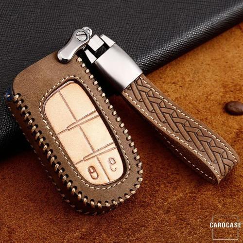 Premium Leder Cover passend für Jeep, Fiat Autoschlüssel inkl. Lederband und Karabiner braun LEK31-J4-2