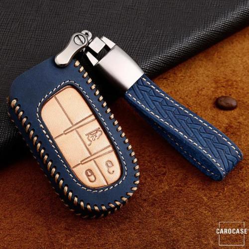 Premium Leder Cover passend für Jeep, Fiat Autoschlüssel inkl. Lederband und Karabiner blau LEK31-J5-4
