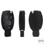 Silikon Carbon-Look Schlüssel Cover passend für Mercedes-Benz Schlüssel schwarz SEK3-M7 (Schutzhülle ohne Zubehör)