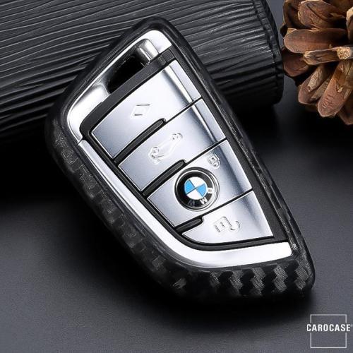 Silikon Carbon-Look Schlüssel Cover passend für BMW Schlüssel schwarz SEK3-B7 (Schutzhülle ohne Zubehör)