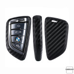 Silikon Carbon-Look Schlüssel Cover passend für BMW Schlüssel schwarz SEK3-B7 (Schutzhülle + Karabiner SAR2)