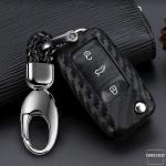 Silikon Carbon-Look Schlüssel Cover passend für Volkswagen, Skoda, Seat Schlüssel schwarz SEK3-VXN