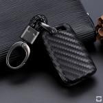 Silikon Carbon-Look Schlüssel Cover passend für Volkswagen, Skoda, Seat Schlüssel schwarz SEK3-V3 (Schutzhülle + Karabiner SAR2)