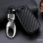 Silikon Carbon-Look Schlüssel Cover passend für Opel Schlüssel schwarz SEK3-OP6 (Schutzhülle + Karabiner SAR22)