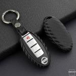 Silikon Carbon-Look Schlüssel Cover passend für Nissan Schlüssel schwarz SEK3-N5