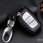 Silikon Carbon-Look Schlüssel Cover passend für Hyundai Schlüssel schwarz SEK3-D1-D2