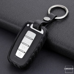 Silikon Carbon-Look Schlüssel Cover passend für Hyundai Schlüssel schwarz SEK3-D3X