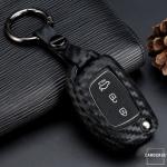 Silikon Carbon-Look Schlüssel Cover passend für Hyundai Schlüssel schwarz SEK3-D6-D7