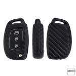 Silikon Carbon-Look Schlüssel Cover passend für Hyundai Schlüssel schwarz SEK3-D6, D7 (Schutzhülle + Karabiner SAR22)