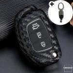 Silikon Carbon-Look Schlüssel Cover passend für Hyundai Schlüssel schwarz SEK3-D6, D7 (Schutzhülle + Karabiner SAR2)