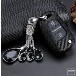 Silikon Carbon-Look Schlüssel Cover passend für Hyundai Schlüssel schwarz SEK3-D5