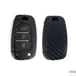 Silikon Carbon-Look Schlüssel Cover passend für Hyundai Schlüssel schwarz SEK3-D8