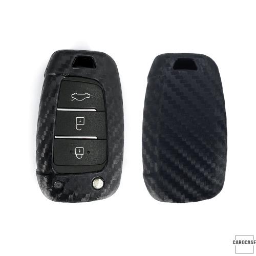 Silikon Carbon-Look Schlüssel Cover passend für Hyundai Schlüssel schwarz SEK3-D8 (Schutzhülle ohne Zubehör)