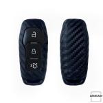 Silikon Carbon-Look Schlüssel Cover passend für Ford Schlüssel schwarz SEK3-F3