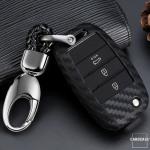 Silikon Carbon-Look Schlüssel Cover passend für Kia Schlüssel schwarz SEK3-K3